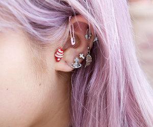 hair, piercing, and earrings image