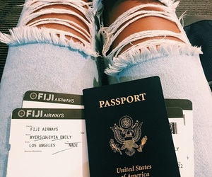 flawless, passport, and ripped jeans image