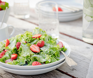 salad, food, and strawberry image