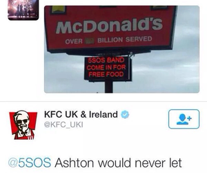 5sos, ashton irwin, and KFC image