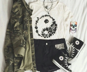 black jeans, coverse, and yin&yang image