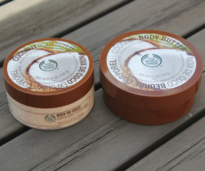 coconut, body butter, and the body shop image