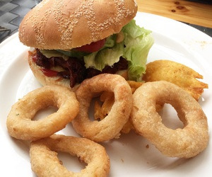 burger, food, and onion rings image