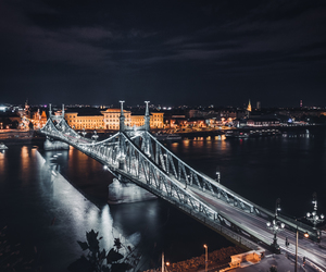 bridge, night, and budapest image