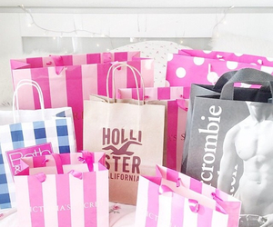 pink, shopping, and hollister image