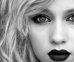 black and white, eye, and make up image
