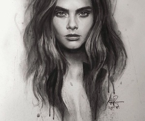 cara delevingne, draw, and drawing image
