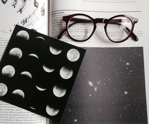 glasses, moon, and book image
