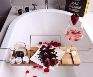 bath, strawberry, and chocolate image