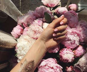 flowers, nails, and pink image