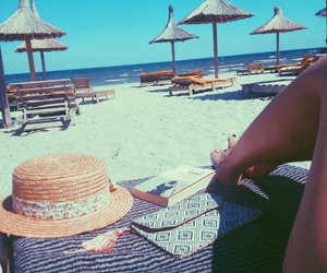 beach, breeze, and hat image