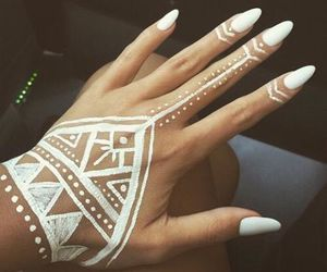 nails, white, and henna image