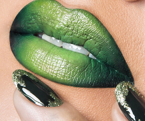 green and lips image