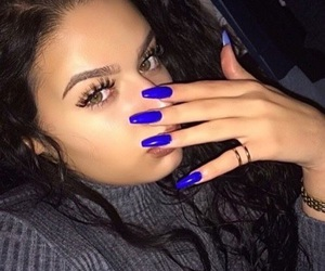nails, blue, and makeup image