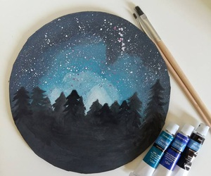 art, forest, and star image