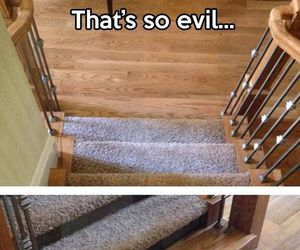 funny, evil, and stairs image