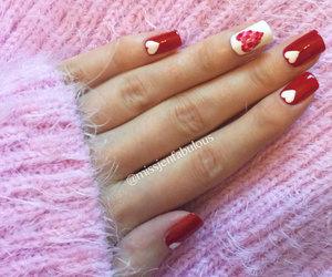 hearts, nail art, and red image