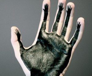 hand, black, and paint image