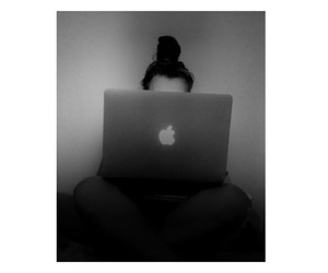 apple, macbook, and black and white image
