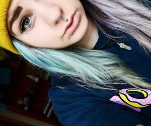 girl, purple hair, and piercing image