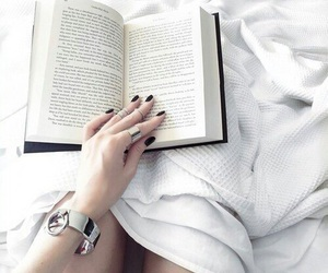 bed, read, and white image
