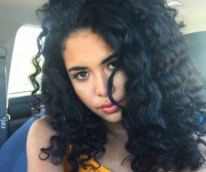 black hair, curly hair, and girl image