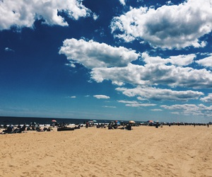 beach, boardwalk, and clouds image