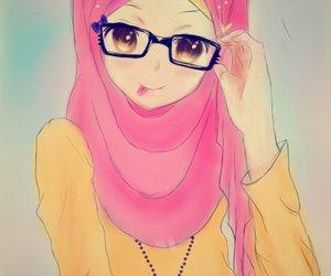 girl, glasses, and hijab image