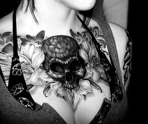 tattoo, skull, and red image