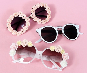 pink, flowers, and sunglasses image