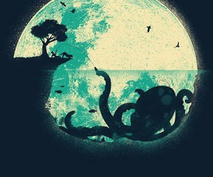 moon, octopus, and night image