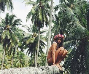 bikini, paradise, and flower crown image