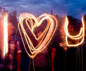 I heart you, sparklers, and smoke image