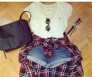 fashion, red flannel, and summer outfit image