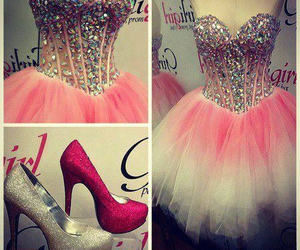 dress, pink, and shoes image