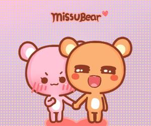 bear, kawaii, and kiss image