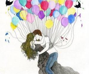 love, balloons, and kiss image