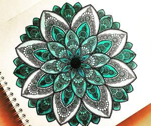 drawing, flower, and mandala image