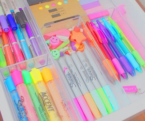 cool, school supplies, and love image