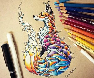 drawing, fox, and art image
