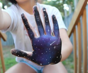 galaxy, tumblr, and hand image