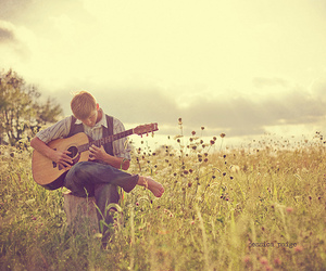 guitar, flowers, and man image