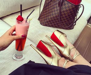 shoes, bag, and drink image