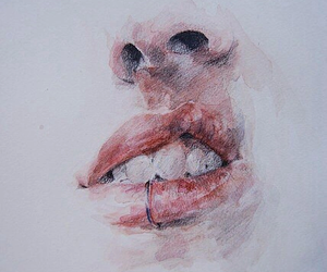 art, drawing, and lips image