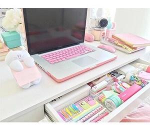 pink, desk, and room image