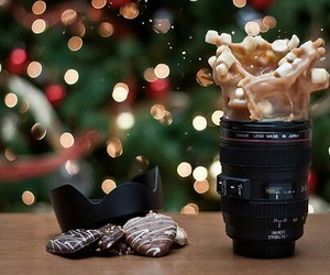 christmas, camera, and coffee image