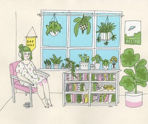 plants, girl, and art image