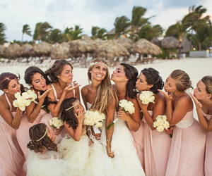 beautiful, bride, and bridesmaid image