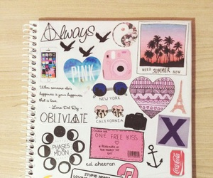 notebook, art, and pink image