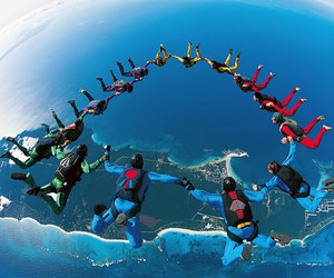sky, blue, and skydiving image